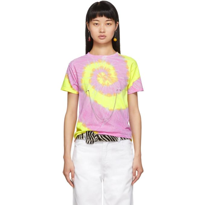Collina Strada T-shirt a motif tie-dye mauve et jaune Pierced Chain