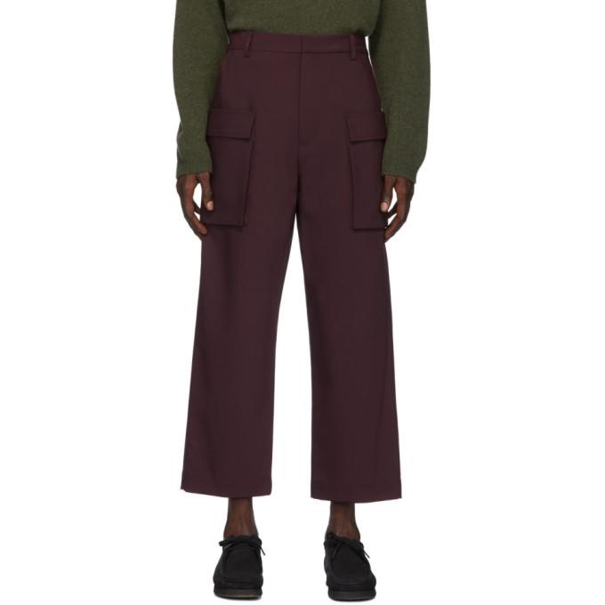 Deveaux New York Pantalon cargo en laine bourgogne Bonded Gusset