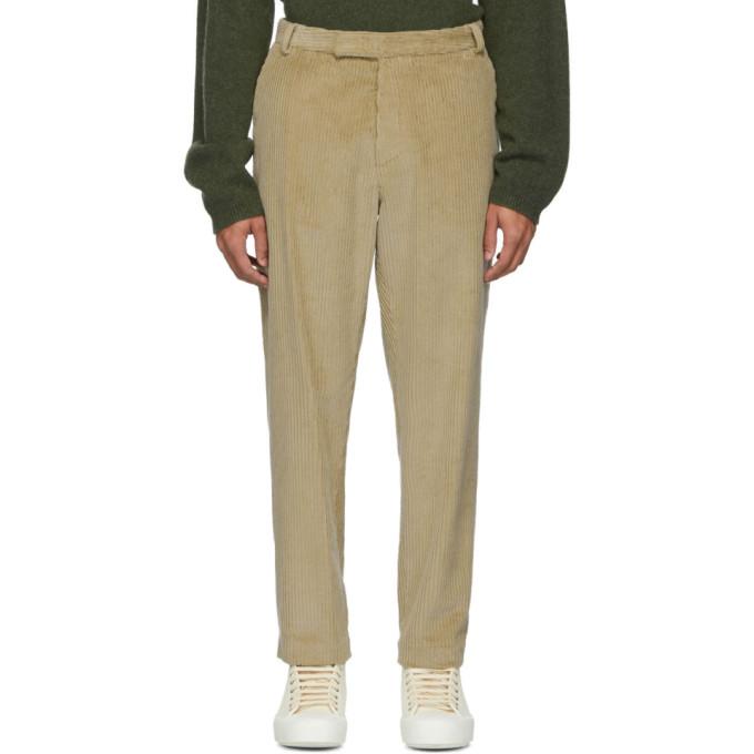 Deveaux New York Pantalon ample en velours cotele beige