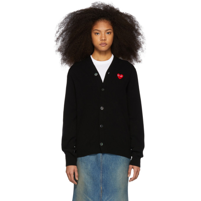 COMME DES GARÇONS PLAY | Comme Des Garcons Play Black And Red Mens Fit Heart Cardigan | Goxip