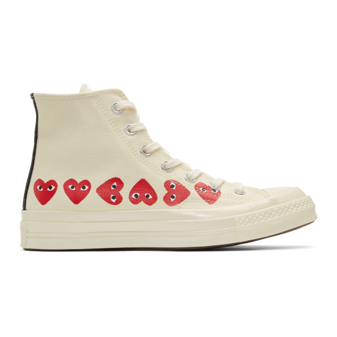 Comme des Garcons Play Off-White Converse Edition Multiple Heart Chuck 70 High Sneakers