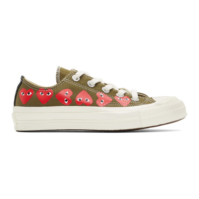 Comme des Garcons Play Baskets kaki Multiple Heart Chuck 70 Low edition Converse