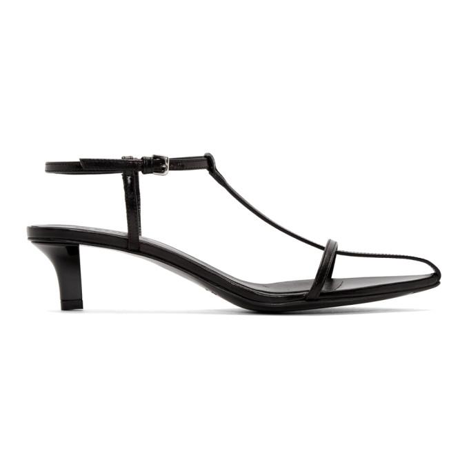 Jil Sander Black Heeled Strap Sandals