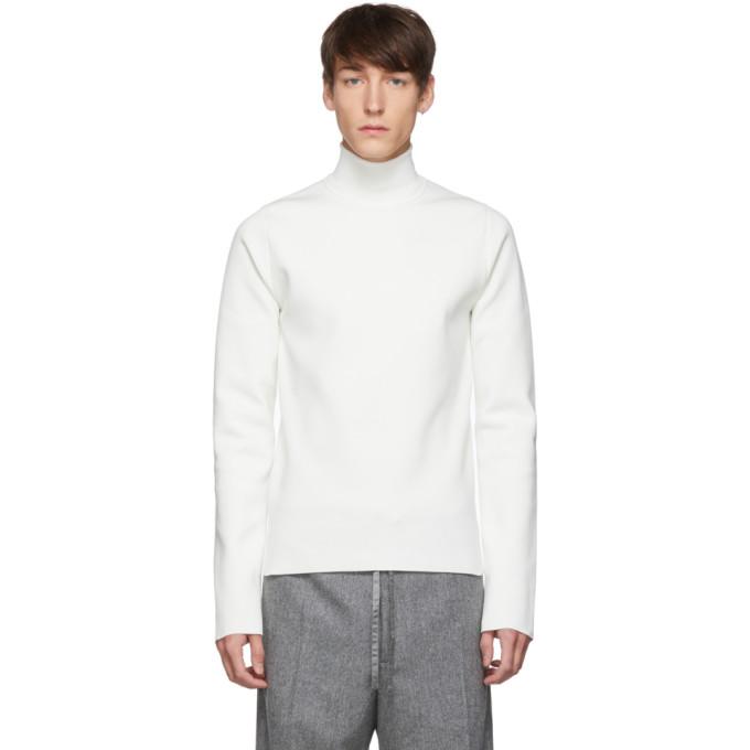 Jil Sander White Flyer Patch Turtleneck Sweater