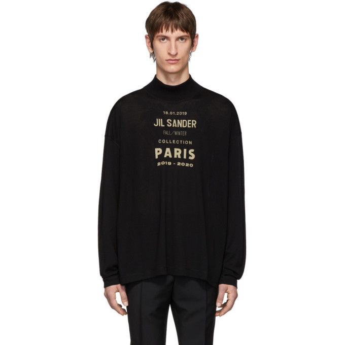 Jil Sander Black Oversized Boxy Logo Sweater