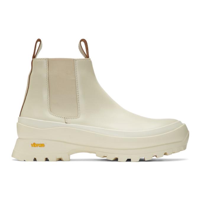 Jil Sander Off-White Rubber Sole Chelsea Boots