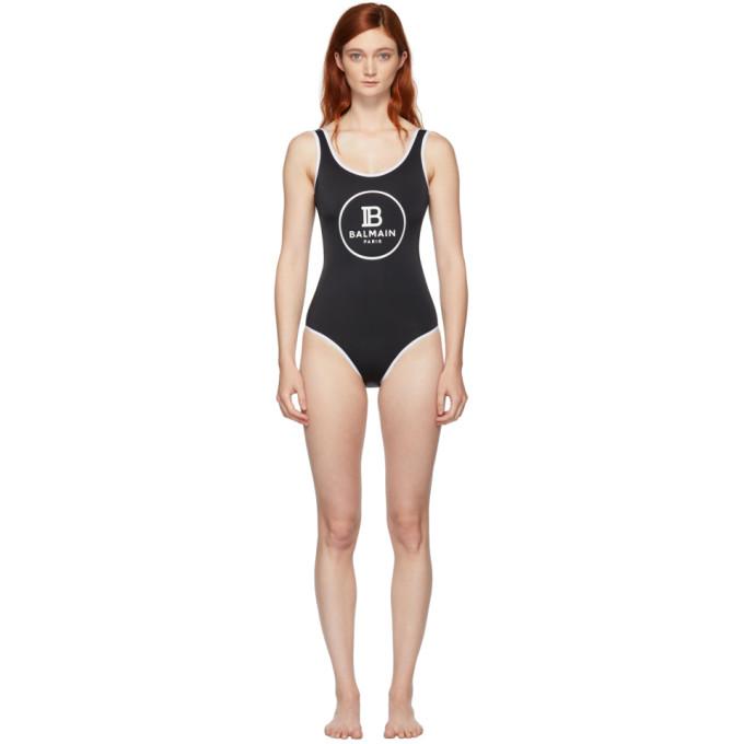 Balmain Maillot de bain une piece a logo noir