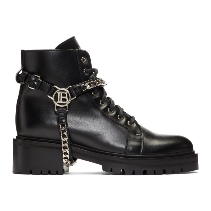 Balmain Black Silver B Harness Ranger Boots