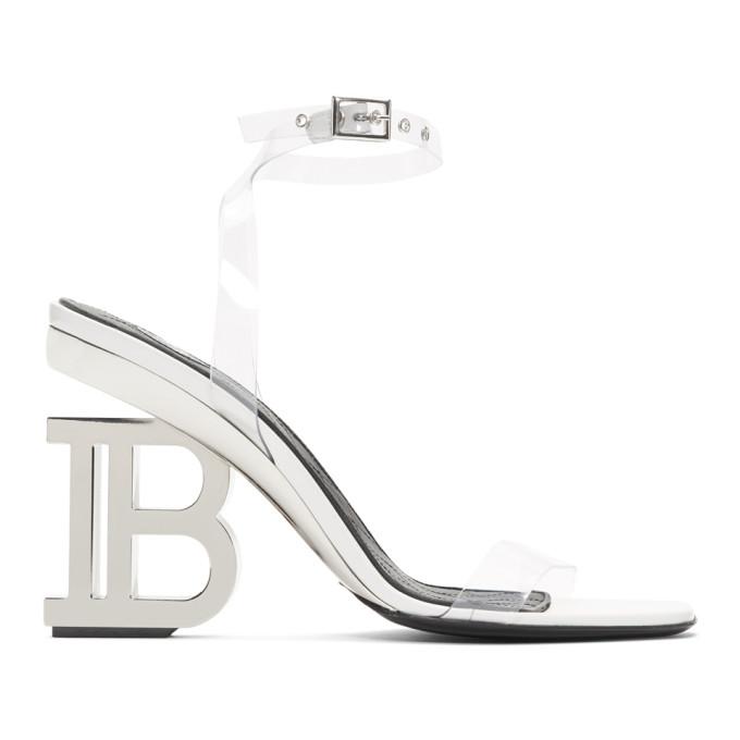 Balmain White and Silver PVC Naomi Sandals
