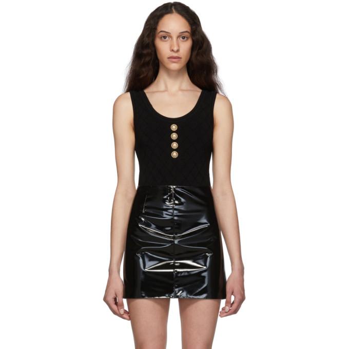 Balmain Black Knit Buttoned Bodysuit