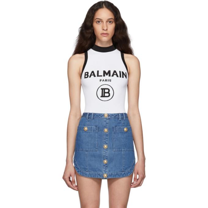Balmain Body en maille a logo blanc