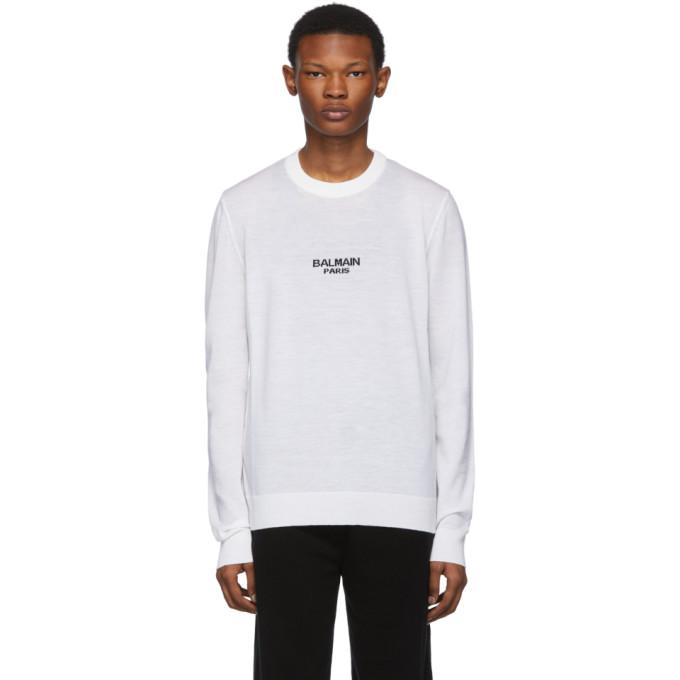 Balmain ホワイト ロゴ セーター