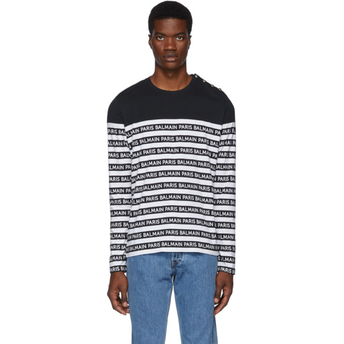 Balmain Black and White Logo Stripe Long Sleeve T-Shirt