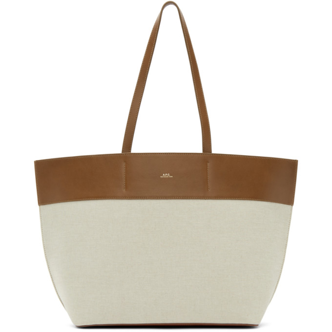 A.P.C. Brown and Off-White Totally Tote