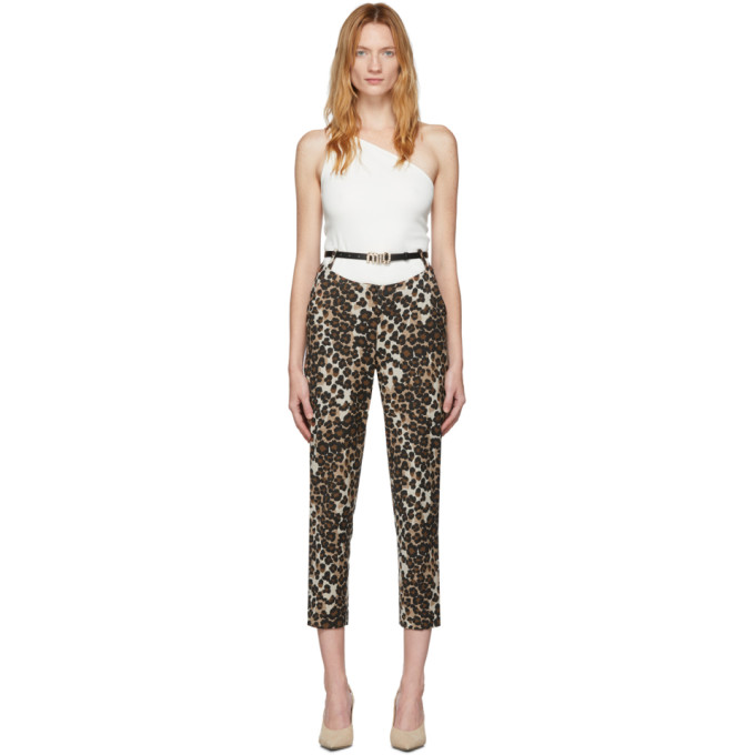 Pushbutton Pantalon a motif leopard brun Back-Up