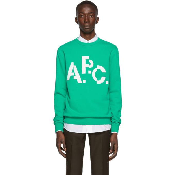 A.P.C. Green Misaligned Logo Sweatshirt