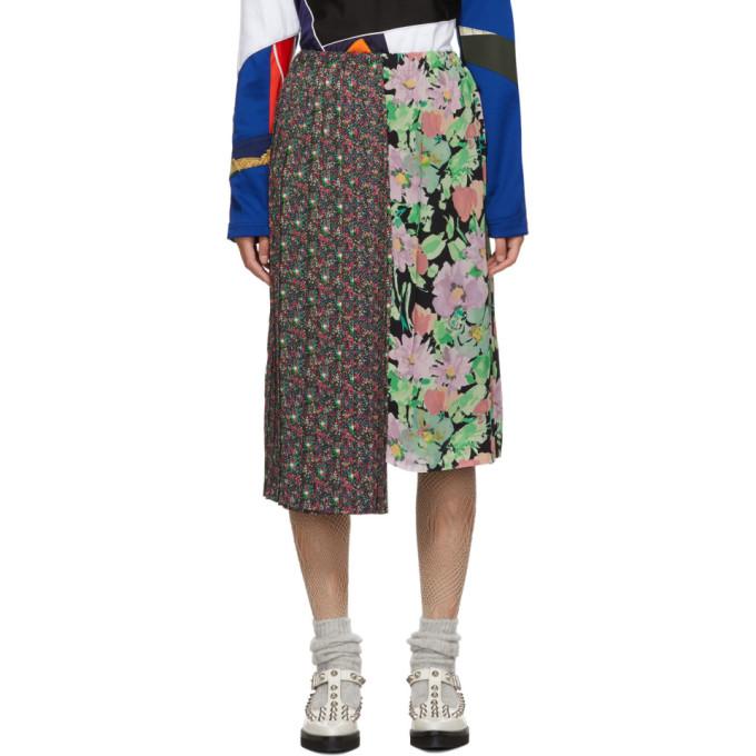 Junya Watanabe Jupe plissee a motif fleuri noire