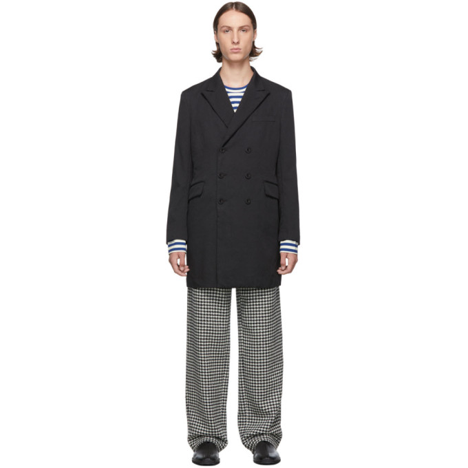 Junya Watanabe Black Double-Breasted Milled Coat