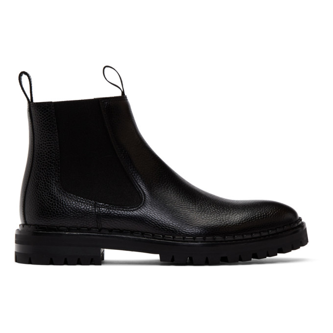 Lanvin Black Pebbled Chelsea Boots