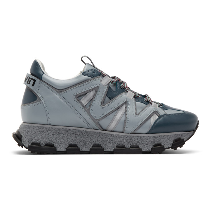 Lanvin Blue and Grey Lightning Sneakers