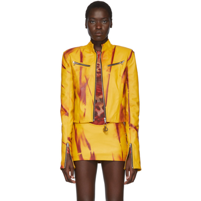 Mowalola Blouson en cuir jaune Kumbi exclusif a SSENSE
