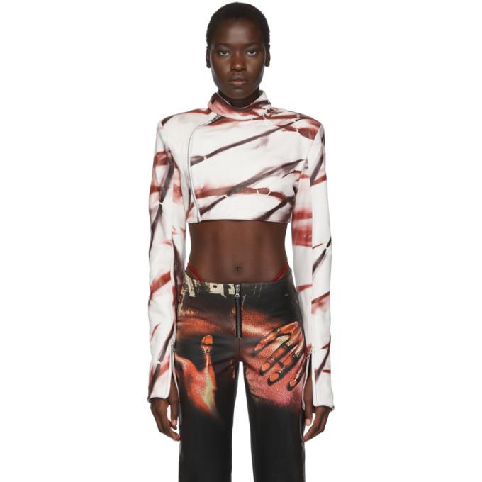 Mowalola Blouson en cuir blanc Kumbi exclusif a SSENSE