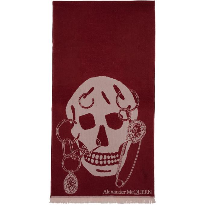 Alexander McQueen Foulard en laine bourgogne Safety Pin Skull
