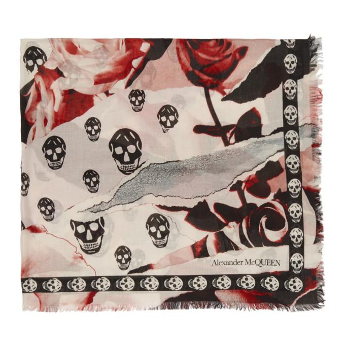 Alexander McQueen Foulard rose et blanc Rose Skull