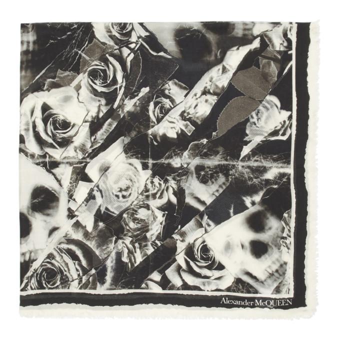 Alexander McQueen Foulard noir et blanc casse Ripped Roses Skull