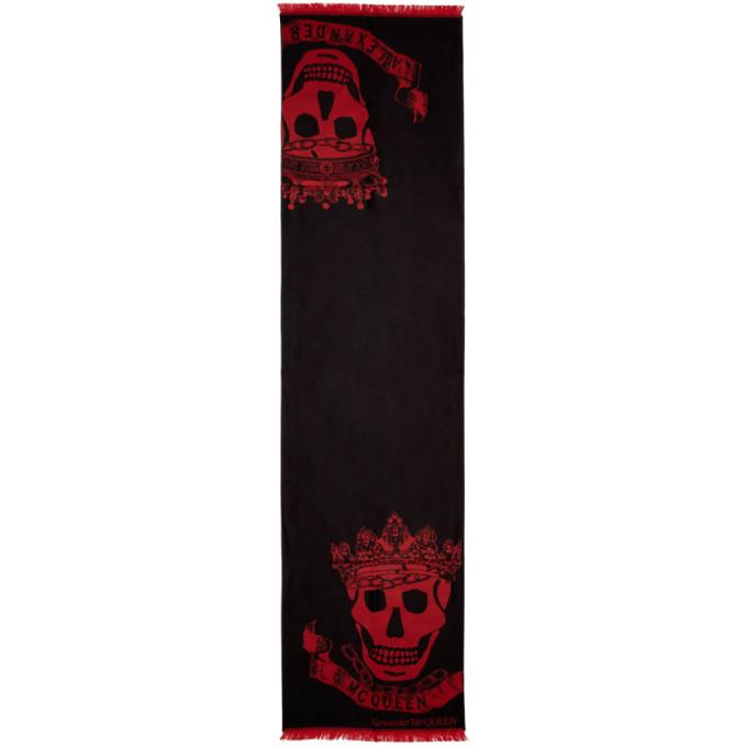 Alexander McQueen Foulard noir et rouge Royal Banner Skull