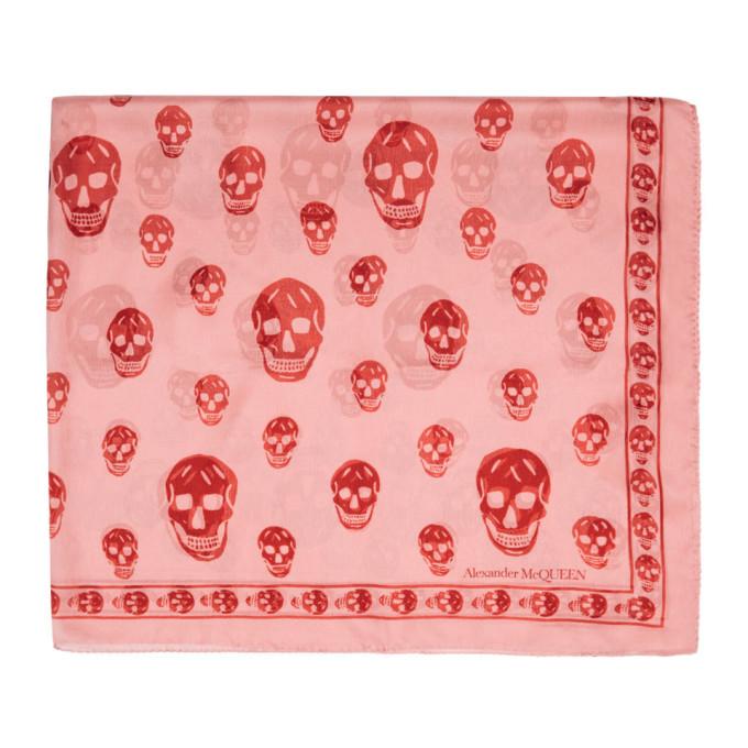 Alexander McQueen Foulard rose et rouge Skull