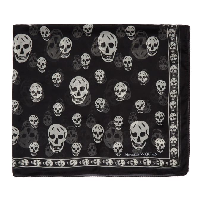 Alexander McQueen Foulard en soie noir Classic Skull