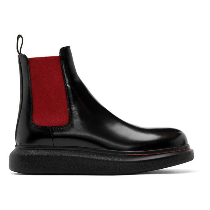 Alexander McQueen Black and Red Hybrid Chelsea Boots