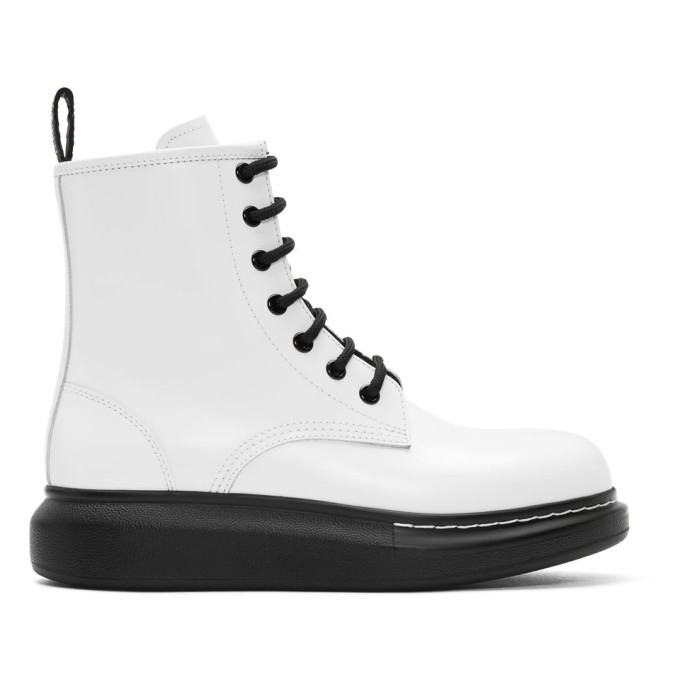 Buy Alexander McQueen White Hybrid Lace-Up Boots online