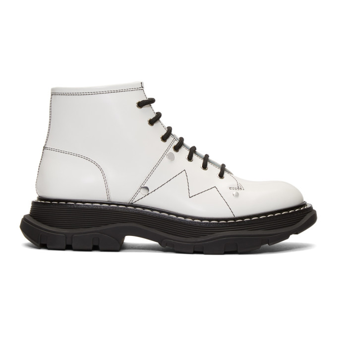 Alexander McQueen Off-White Tread Lace-Up Boots