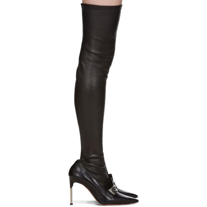 Alexander McQueen Black Metal Bar Moccasin High Boots