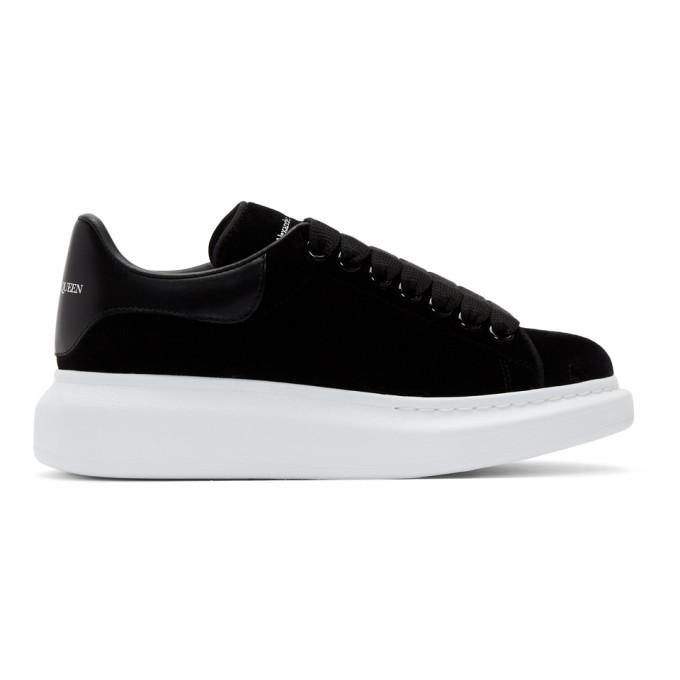 Alexander McQueen Black and White Velvet Oversized Sneakers
