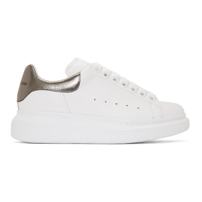 Alexander McQueen White and Gunmetal Metallic Oversized Sneakers