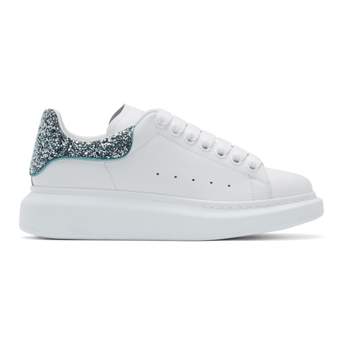 Alexander McQueen White and Blue Glitter Oversized Sneakers