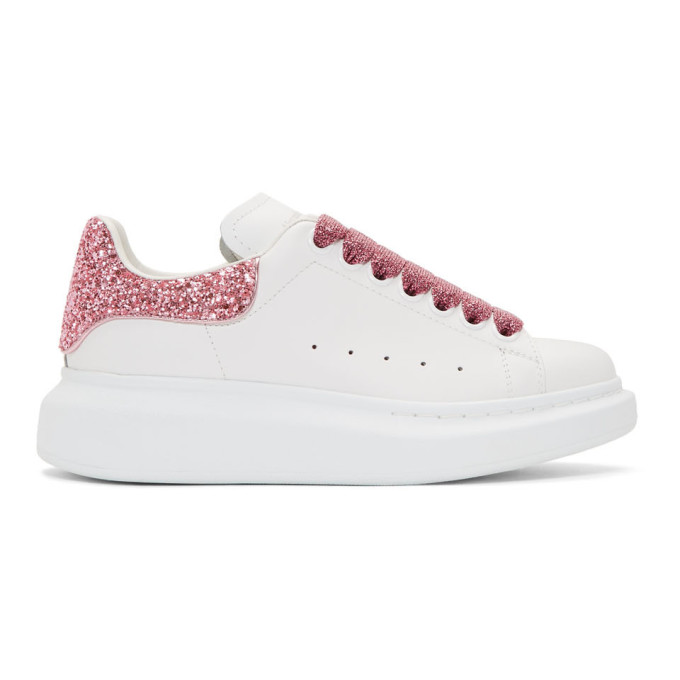 Alexander McQueen White Galaxy Glitter Oversized Sneakers