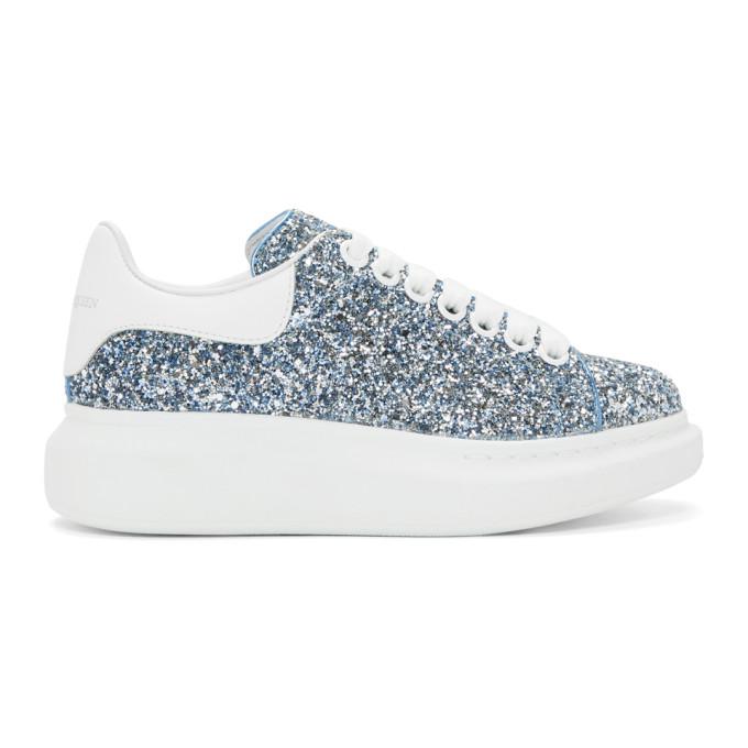 Alexander McQueen Blue Galaxy Glitter Oversized Sneakers