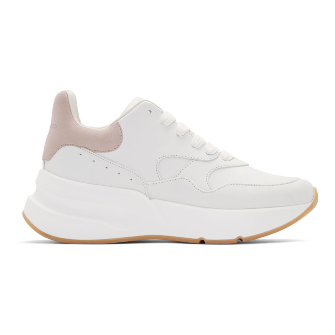 Alexander McQueen White and Pink Oversized Runner Sneakers