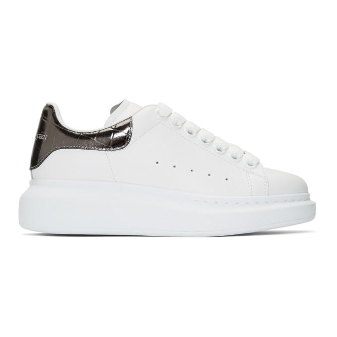 Alexander McQueen White and Grey Croc Oversized Sneakers