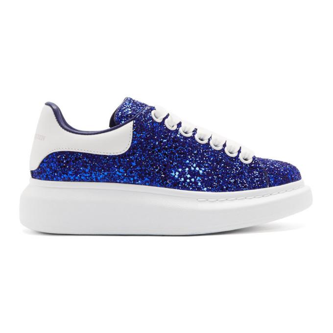 Alexander McQueen Blue Crystal Glitter Oversized Sneakers