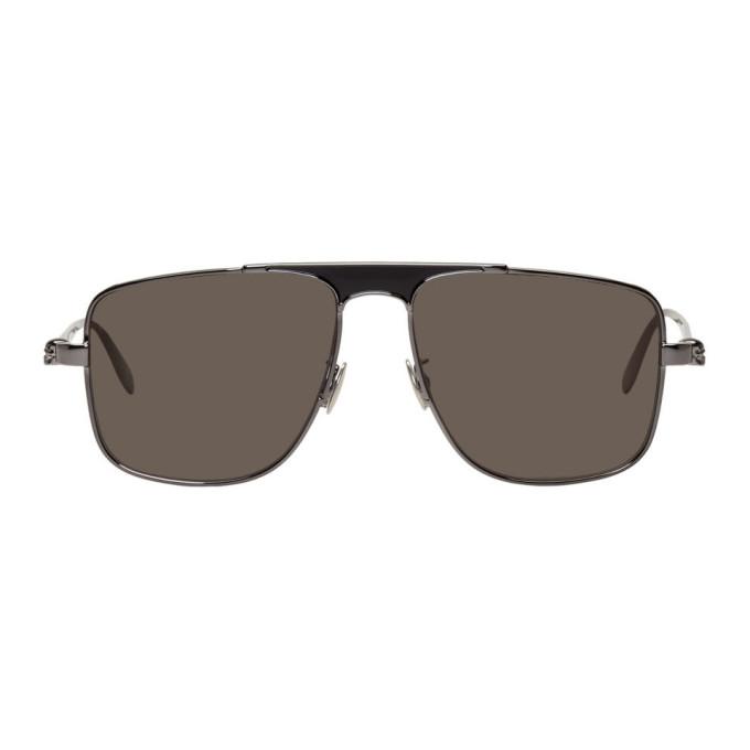 Alexander McQueen Gunmetal Rectangular Sunglasses