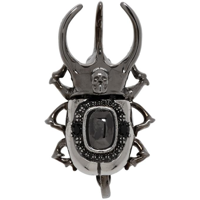 ALEXANDER MCQUEEN | Alexander McQueen Silver Beetle Earring | Goxip