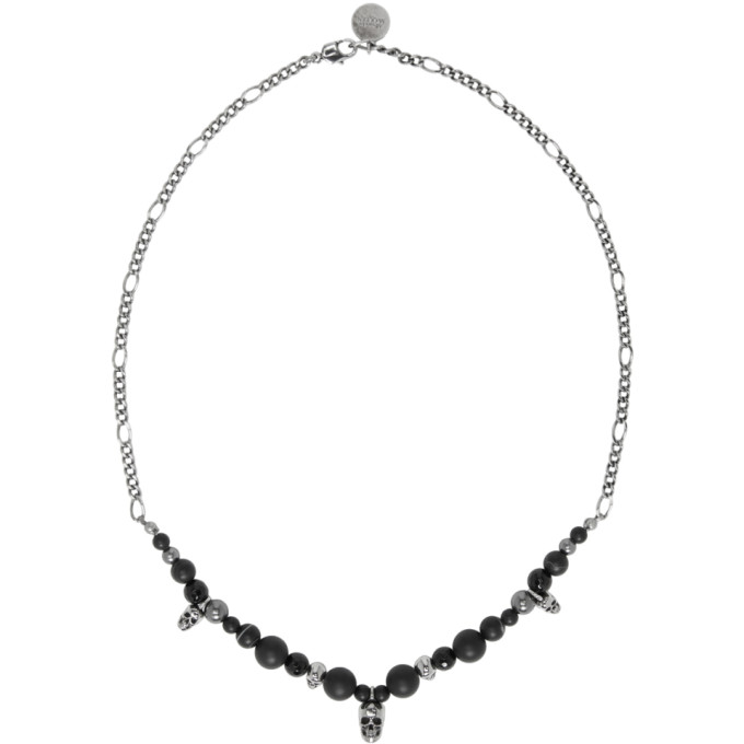 Alexander Mcqueen Pearl And Skull Bead Necklace In Silver/Jet Black
