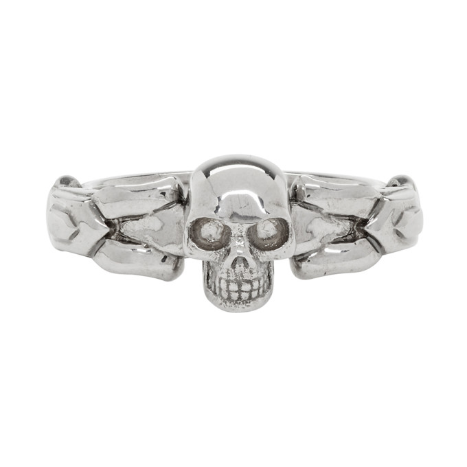 ALEXANDER MCQUEEN   Alexander McQueen Silver Textured Skull Ring   Goxip
