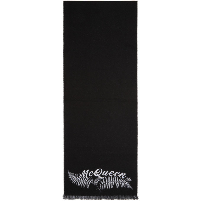 ALEXANDER MCQUEEN | Alexander McQueen Black And Off-White Small Fern Logo Scarf | Goxip