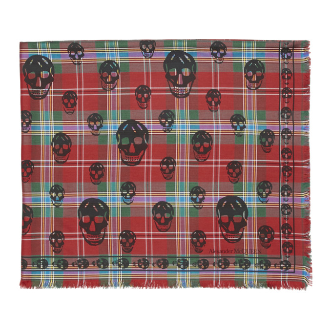 Alexander McQueen Red and Green Tartan Skull Scarf